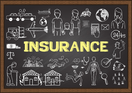 42294175 - doodles about insurance on chalkboard.