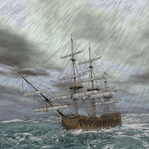 25247226 - old ship lost in the middle of a raining storm on ocean