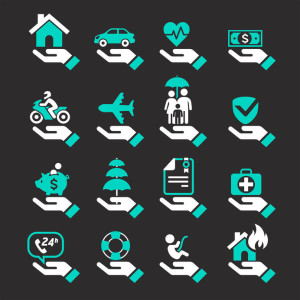 34423165 - insurance hand icons set. vector illustration.