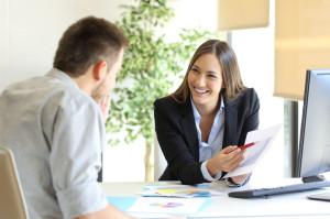 69027593 - boss showing a good job congratulating an employee at office